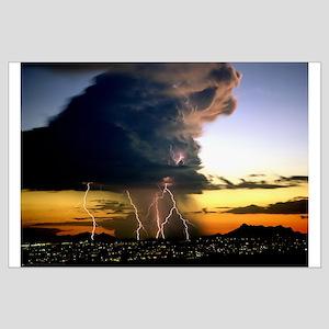 Thunderstorm Lightning at Sunset Large Poster