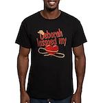Deborah Lassoed My Heart Men's Fitted T-Shirt (dar