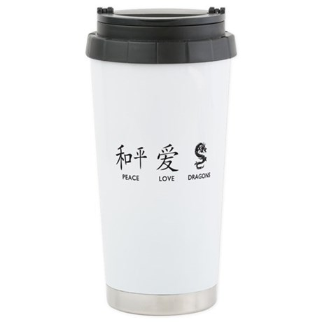 Peace, Love, Dragons Stainless Steel Travel Mug