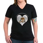 Humane Society Support Women's V-Neck Dark T-Shirt