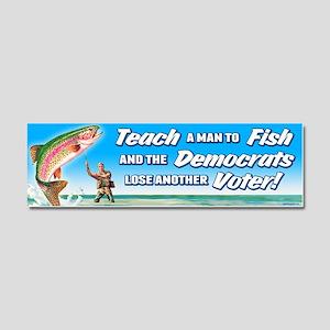Teach a Man to Fish Car Magnet 10 x 3