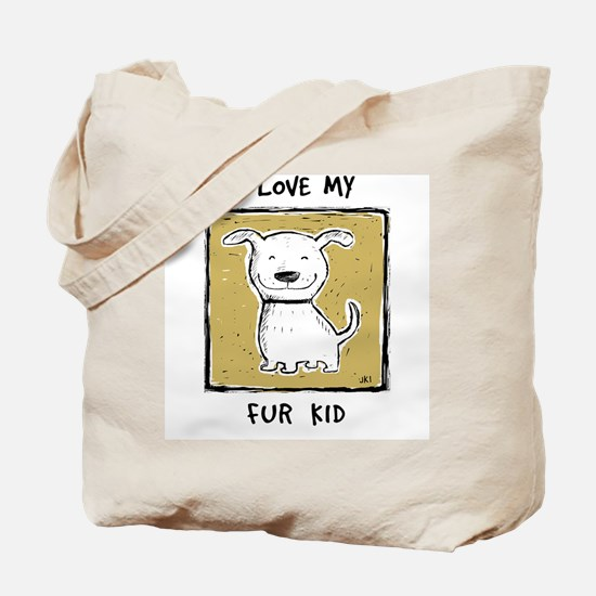 """I Love My Fur Kid"" (green) Tote Bag"