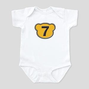 Bear Head Number 7 seven Infant Bodysuit