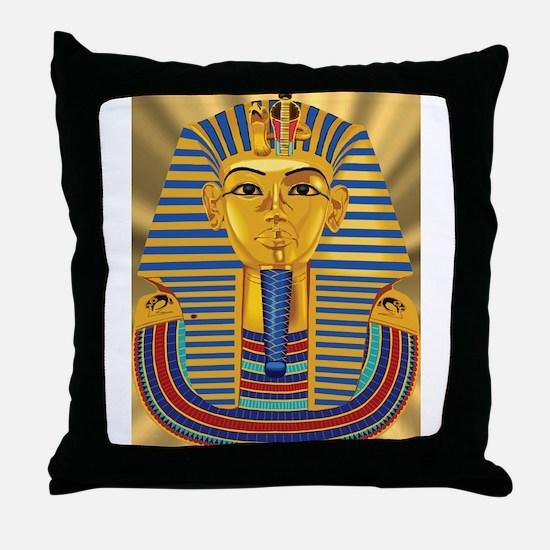 Tut Mask on Golden Rays Throw Pillow