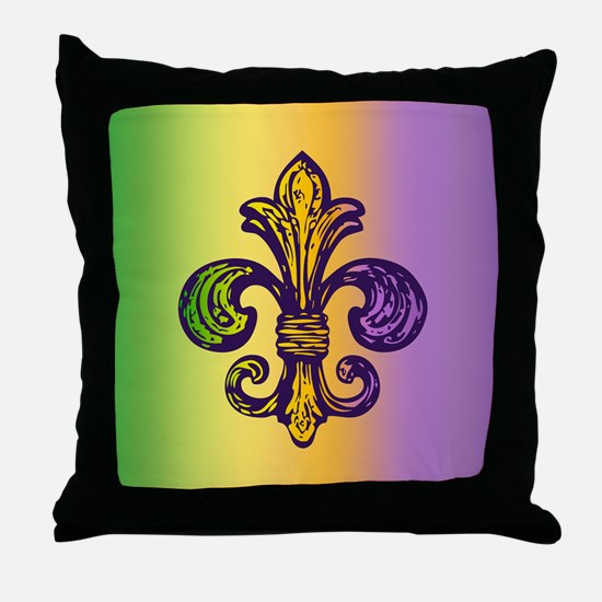 Fleur de Mardi Gras Throw Pillow
