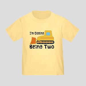 Personalized 2nd Birthday Bulldozer Toddler T-Shir