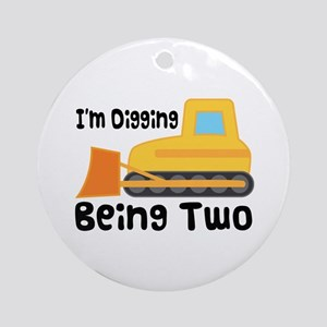 Personalized 2nd Birthday Bulldozer Ornament (Roun