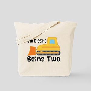 Personalized 2nd Birthday Bulldozer Tote Bag