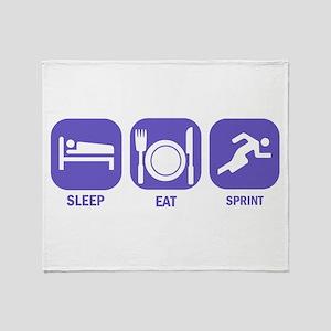 Sleep Eat Sprint Throw Blanket