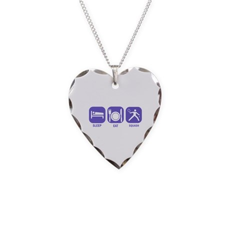 Sleep Eat Squash Necklace Heart Charm