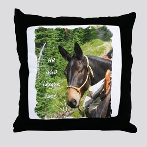 Smiling Mule Throw Pillow