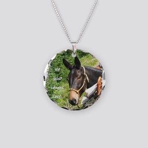 Smiling Mule Necklace Circle Charm