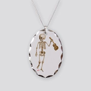 Ukulele Skeleton Necklace Oval Charm