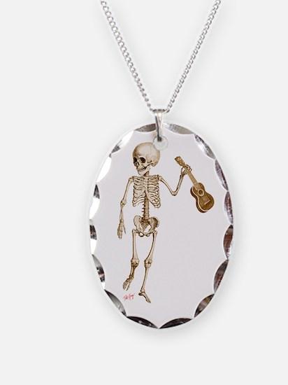 Ukulele Skeleton Necklace Oval Charm