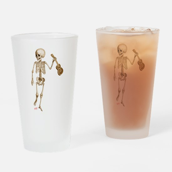 Ukulele Skeleton Drinking Glass