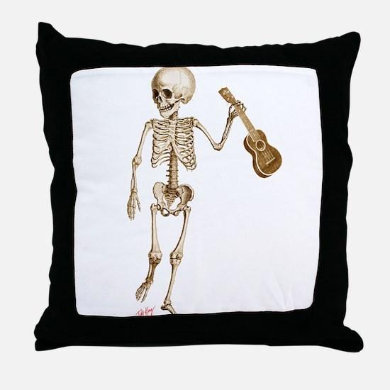 Ukulele Skeleton Throw Pillow