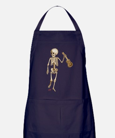 Ukulele Skeleton Apron (dark)