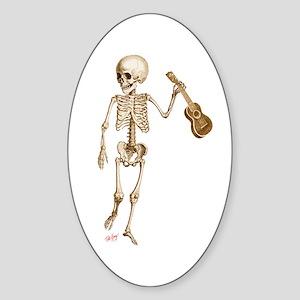 Ukulele Skeleton Sticker (Oval)