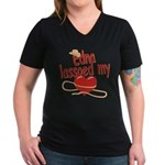 Edna Lassoed My Heart Women's V-Neck Dark T-Shirt