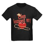 Ellen Lassoed My Heart Kids Dark T-Shirt