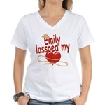 Emily Lassoed My Heart Women's V-Neck T-Shirt