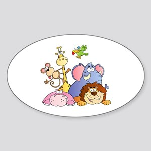 Jungle Animals Sticker (Oval)