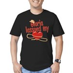 Gloria Lassoed My Heart Men's Fitted T-Shirt (dark