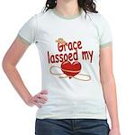 Grace Lassoed My Heart Jr. Ringer T-Shirt