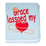 Grace Lassoed My Heart baby blanket