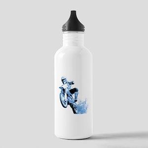 Blue Dirtbike Wheeling in Mud Stainless Water Bott