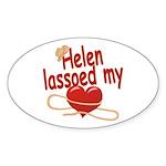 Helen Lassoed My Heart Sticker (Oval)