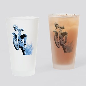 Blue Dirtbike Wheeling in Mud Drinking Glass