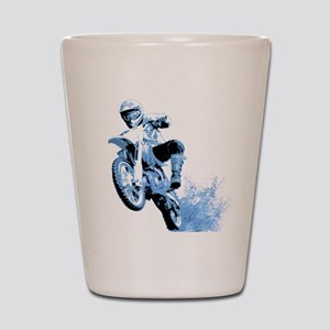Blue Dirtbike Wheeling in Mud Shot Glass