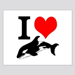 I Heart Whales Small Poster
