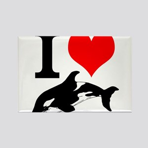 I Heart Whales Rectangle Magnet