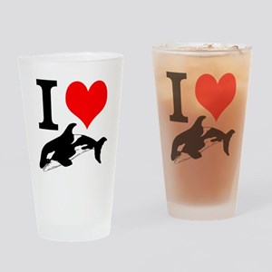 I Heart Whales Drinking Glass