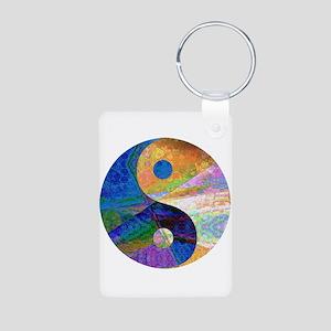 yin and yang Aluminum Photo Keychain