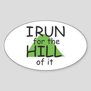 Funny Hill Running Sticker (Oval)