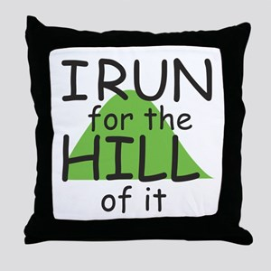 Funny Hill Running Throw Pillow