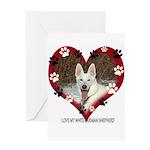 I Love my White German Shephe Greeting Card