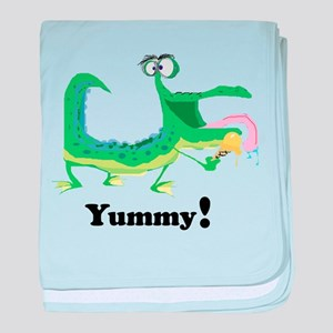 Yummy crocodile monster baby blanket