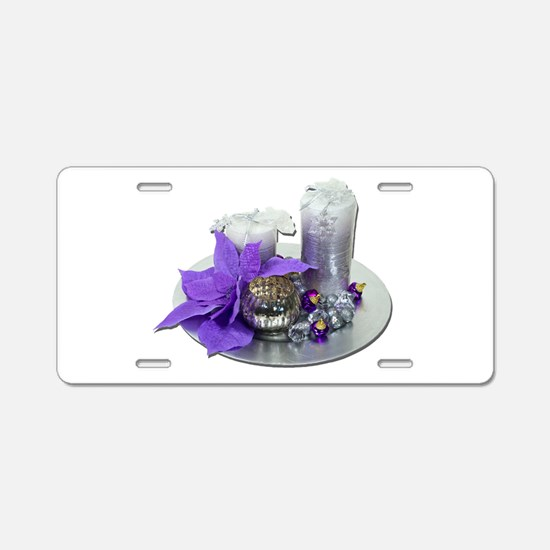 Christmas Holiday Candles Aluminum License Plate