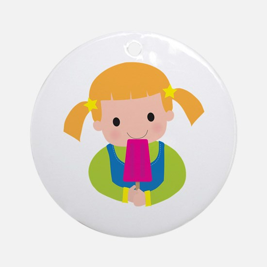 Little Girl Popsicle Ornament (Round)