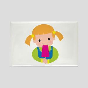 Little Girl Popsicle Rectangle Magnet