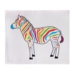 Multicolor Zebra Throw Blanket