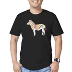 Multicolor Zebra Men's Fitted T-Shirt (dark)