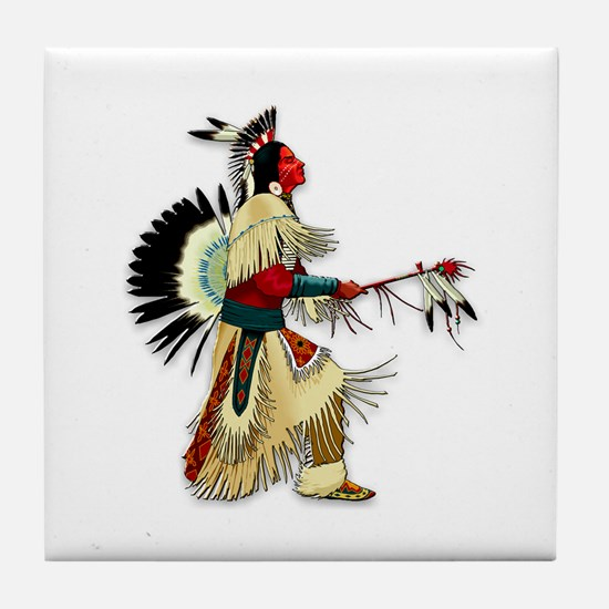 Native American Warrior #5 Tile Coaster