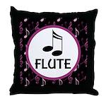 Flute Musical Notes Throw Pillow