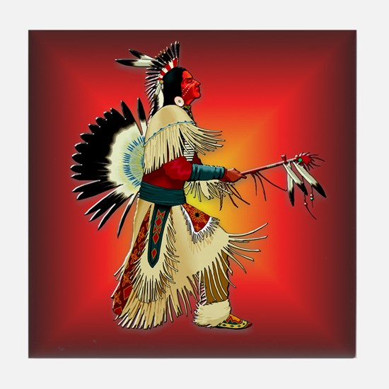 Native American Warrior #6 Tile Coaster