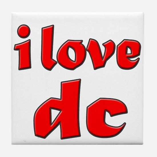 I Love DC (red) Tile Coaster